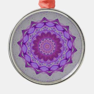 Cool Purple Kaleidoscope  Mandela Pattern Silver-Colored Round Ornament