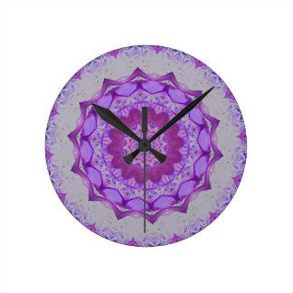 Cool Purple Kaleidoscope  Mandela Pattern Wallclock