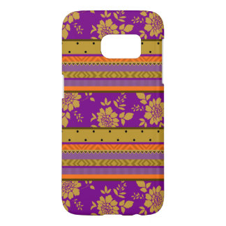 Cool Purple Mustard Yellow Orange Stripes Pattern Samsung Galaxy S7 Case