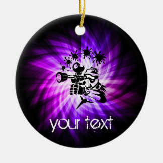 Cool Purple Paintball Double-Sided Ceramic Round Christmas Ornament