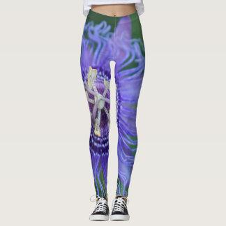 Cool Purple Passion Flower Yoga Leggings