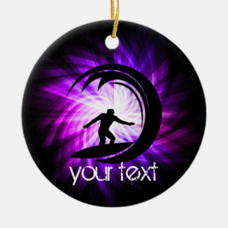 Cool Purple Surfing Ceramic Ornament