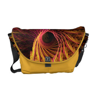 Cool Purple Yellow Abstract Neon Glowing Fractal Messenger Bag