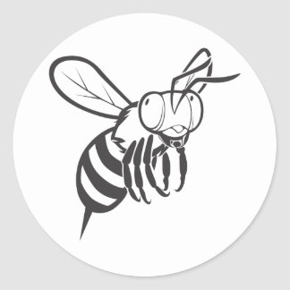 Cool Queen Bee Outline Cartoon Shirt Classic Round Sticker