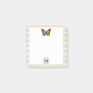 Cool Rainbow Butterfly Pinstripe Custom Monogram Post-it Notes
