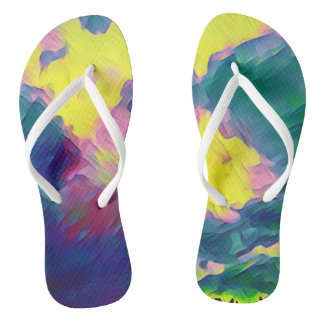 Cool Rainbow Colours Paint Splatters Flip Flops