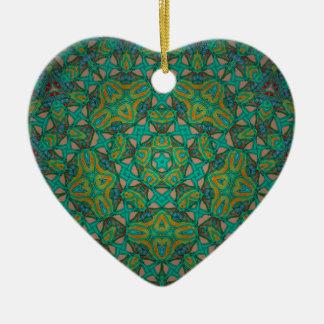 Cool Rainforest Green Print Ceramic Ornament