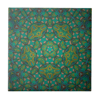 Cool Rainforest Green Print Tile