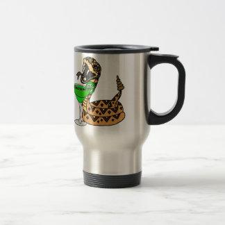 Cool Rattlesnake Drinking Margarita Art Travel Mug