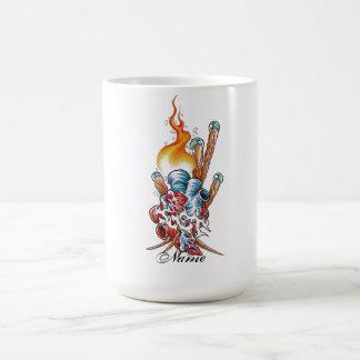 Cool Realistic Heart with Flame tattoo Basic White Mug