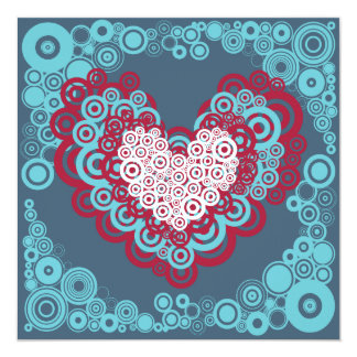 "Cool Red and Blue Hearts Circles Pattern 5.25"" Square Invitation Card"