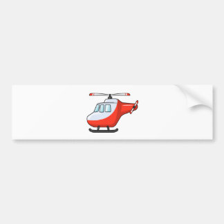 Cool Red and White Cartoon Helicopter Bumper Sticker