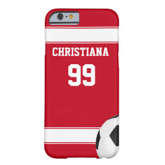 Cool red and white stripes jersey soccer ball barely there iPhone 6 case