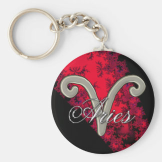 Cool Red Black Zodiac Sign Aries Astrology Basic Round Button Keychain