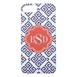 cool red blue white greek key pattern monogram iPhone 8/7 case