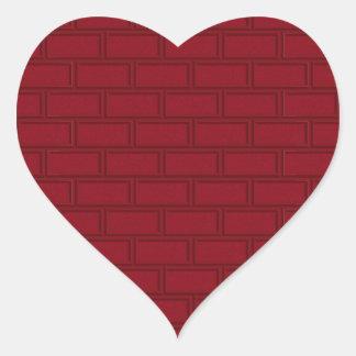 Cool Red Cartoon Bricks Wall Pattern Heart Sticker