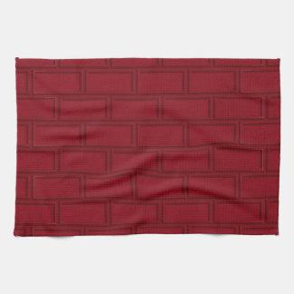 Cool Red Cartoon Bricks Wall Pattern Kitchen Towel