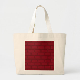 Cool Red Cartoon Bricks Wall Pattern Large Tote Bag