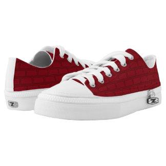 Cool Red Cartoon Bricks Wall Pattern Low-Top Sneakers