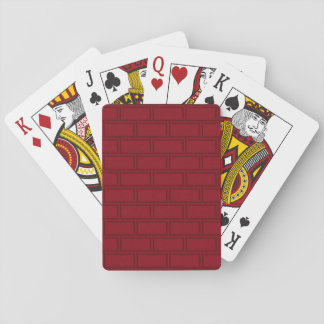 Cool Red Cartoon Bricks Wall Pattern Playing Cards