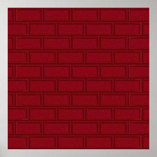 Cool Red Cartoon Bricks Wall Pattern Poster