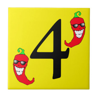 Cool Red Chili Pepper Hot Number 4 four tile