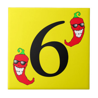 Cool Red Chili Pepper Hot Number 6 six tile