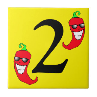 Cool Red Chili Peppers Hot Number two 2 dosTile Tile