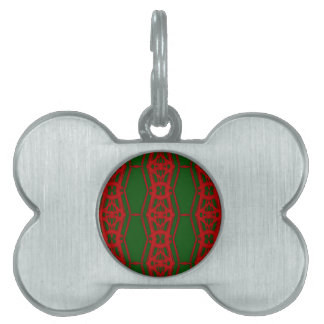 Cool Red Green Christmas Pattern Pet Name Tag