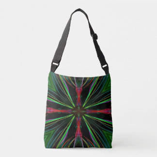 Cool Red Green Neon Electrical Energy Burst Crossbody Bag