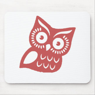 Cool Red Owl Mouse Pad