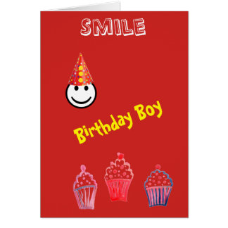 Cool Red Smile Clown Graphic Birthday Boy Card