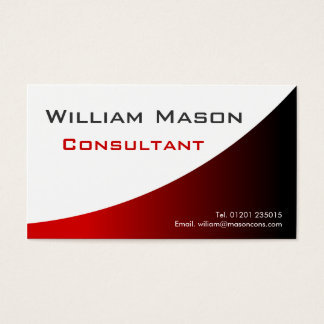 Cool Red White Curved, Professional Business Card