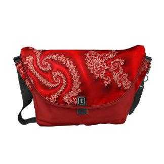 Cool Red White Floral Abstract Neon Fractal Commuter Bags