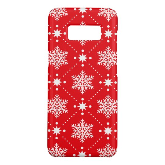 Cool Red White Snowflakes Christmas Pattern Case-Mate Samsung Galaxy S8 Case