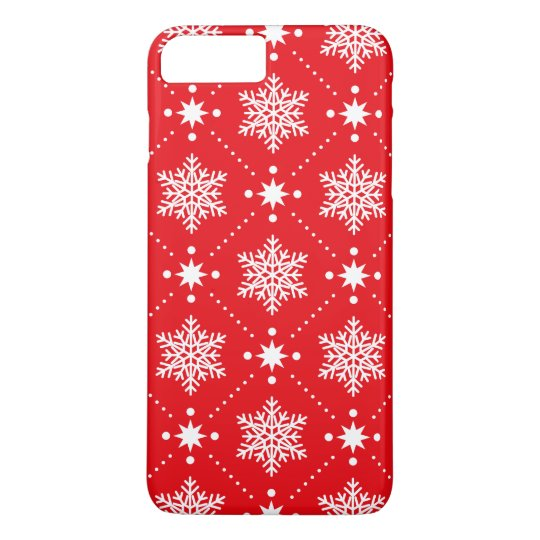 Cool Red White Snowflakes Christmas Pattern iPhone 8 Plus/7 Plus Case