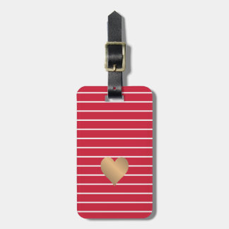 Cool Red White Stripes Faux Gold Heart Luggage Tag