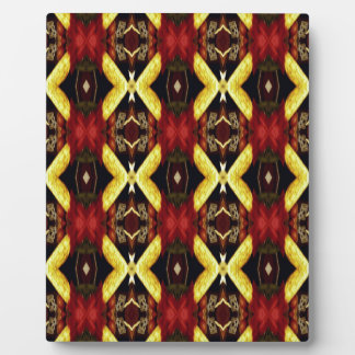 Cool Red Yellow Lattice Pattern Photo Plaques