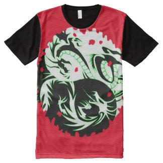 Cool Red Yin Yang Dragon symbol Custom All-Over-Print T-Shirt