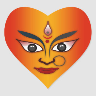 Cool religion face Indian mask goddess Heart Sticker