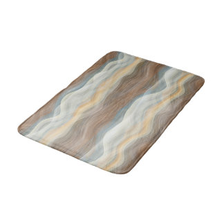 Cool Retro Abstract Artistic Waves Pattern Bath Mat