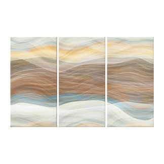 Cool Retro Abstract Artistic Waves Pattern Canvas Print