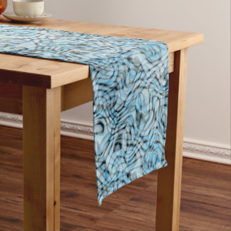 Cool Retro Artistic Abstract Waves Pattern Medium Table Runner