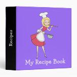 Cool Retro Blonde Girl Chef Art Recipe Binder