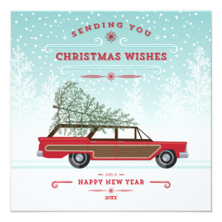 Cool Retro Car with Tree Christmas Photo Card