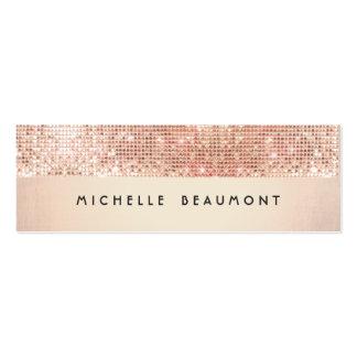 Cool Retro Fashion and Beauty Faux Copper Sequin Mini Business Card