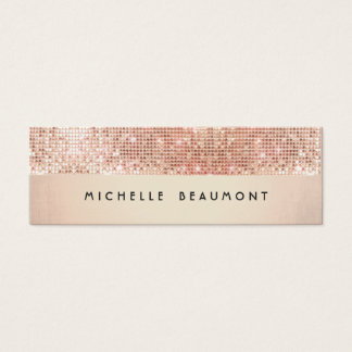 Cool Retro Fashion and Beauty Faux Copper Sequin Mini Business Card