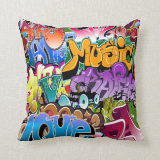 Cool retro graffiti art home decor pillow