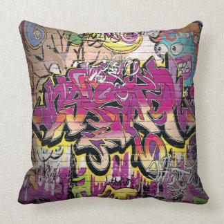 Cool retro graffiti art home office decor pillow