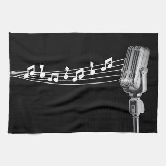 Cool Retro Mic & Musical Notes Black Kitchen Towel